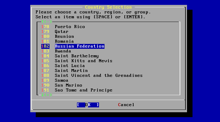 FreeBSD Country Selection