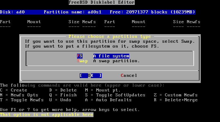 FreeBSD disklabel partition type